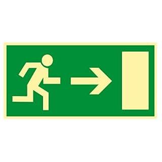 Notausgang / Rettungsweg / Rettungsschild Rettungszeichen rechts Kunststoff nachleuchtend selbstklebend 297 mm x 148 mm