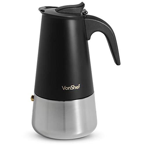 VonShef Macchinetta per caffè Espresso da 6 Tazze – Caffettiera a Pressione per fornello in Acciaio Inox Nero Opaco – Regalo Perfetto per Natale, Compleanni o inaugurazione della casa