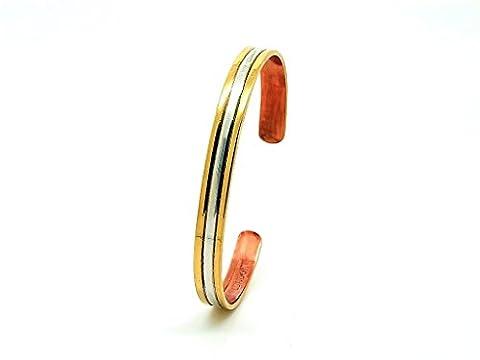 Armband Kupfer Duet sabonafrance. Armband Goldene & Silber. Größe sehr große (17,8cm) für Handgelenk 19,0cm. Armband Kupfer Damen, und Armband Kupfer Herren. Armband reines Kupfer.