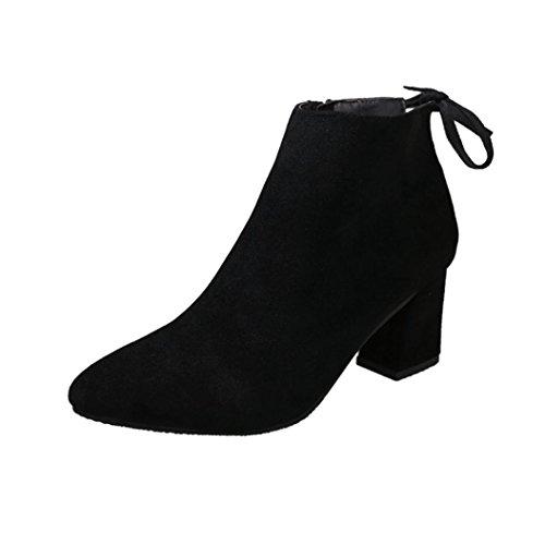 Botines Tacon de Cuña Para Mujer Zapatos Plataforma Negro Por ESAILQ D