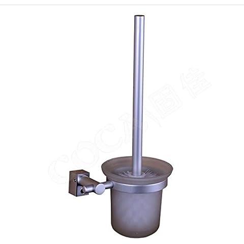 YUPD@Alluminio di spazio bagno smerigliato doppi fori di vetro WC pennello titolare