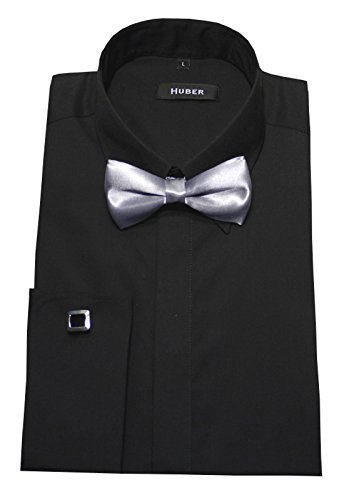 Manschettenhemd SlimFit schwarz mit Fliege XXL