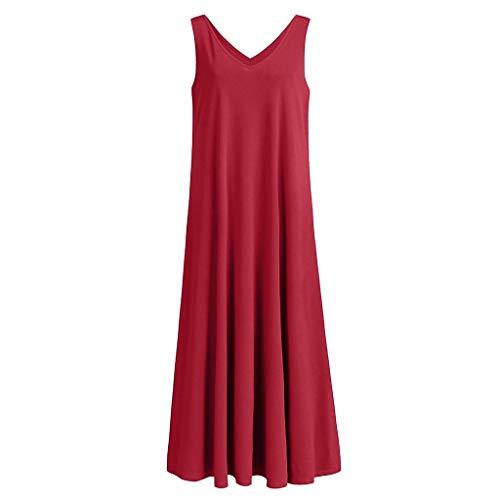 Wawer Women's rot Sexy V-Ausschnitt Fashion Einfarbig Sexy Sleeveless Dress Party Nachtclub Bar Cocktail Festliche Kleider Öffnen Sie Sich zurück