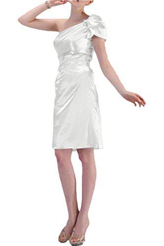 Gorgeous Bride Modern Kurz Ein-Schulter Satin Falte Abendkleid Festkleid Ballkleid Weiß