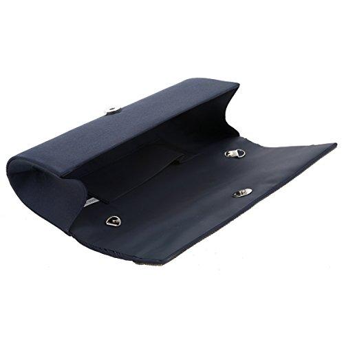 Damara® Glitzer Große Damen Strass Abendtasche Mit Faltenwurf Schwarz