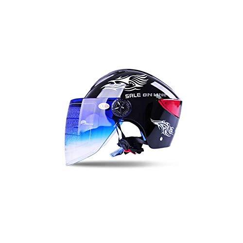 HECHEN Motorradhelme für Männer und Frauen - Half Covered Leichtgewicht Four Seasons Universal Sonnenschutzmittel UV-Schutzhalbhelm,Black