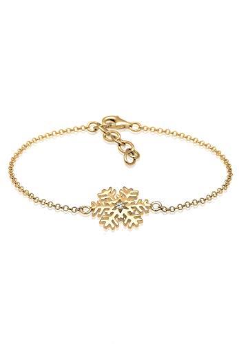 Elli Damen-Armband Schneeflocke 925 Silber Kristall weiß Brillantschliff 16 cm - 0209360916_16 - Kristall-schneeflocke
