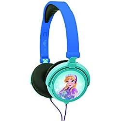 Lexibook Disney Frozen La Reine des Neiges Elsa Casque audio stéréo, puissance sonore limitée, pliable et ajustable, bleu/noir, HP010FZ
