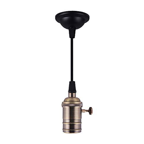 E27Socket de tornillo portalámparas-Edison Retro lámpara colgante soporte con alambre para portalámparas y Fixture Repuesto Vintage Industrial Style DIY Proyectos 110-220V (Socket de bronce)