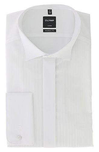 OLYMP Luxor modern fit Gala Hemd Langarm Streifen weiß Größe 47