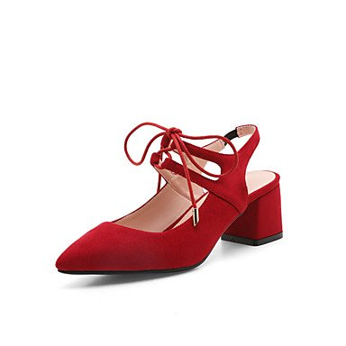 LFNLYX Donna tacchi Primavera Estate Autunno Mary Jane Cashmere Casual Chunky Heel Lace-up Nero Blu Verde Rosso Red