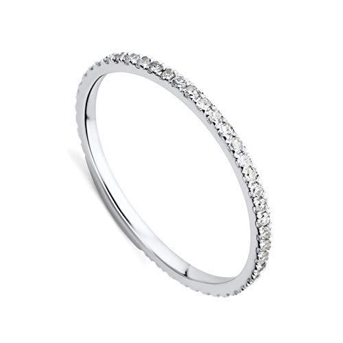 Orovi Damen-Ring Memoire HochzeitsringWeißgold 9 Karat (375) Brillianten 0.29 carat Verlobungsring Diamantring (Eternity Weißgold Ring Diamant)