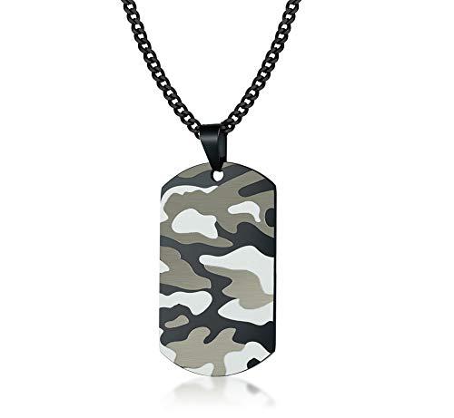 Joielavie Colier Anhänger Herren Edelstahl Kette Dog Tag Schild Camouflage Tarnmuster Armee Soldat Schmuck Geschenk -