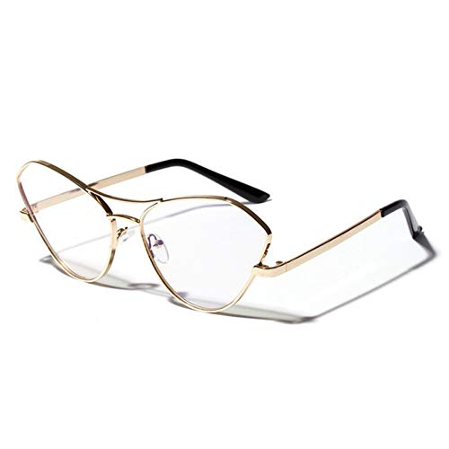 ZRTYJ Sonnenbrille New Big Cat Eye Rahmen Für Frauen Mode Gold Schwarz Rahmen Double Beam Flachspiegel Elegante Weibliche