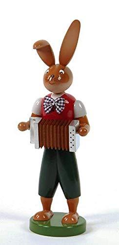 Rudolphs-Schatzkiste Osterhase Hase mit Harmonika 25cm H: 25cm NEU Erzgebirge Osterdeko Osterfigur