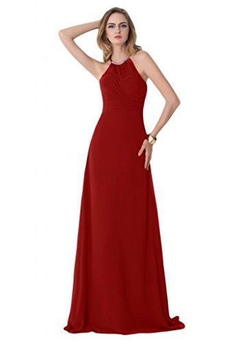 Sunvary Scoop, con allacciatura al collo, da donna, con cerniera, per damigella d'onore, in Chiffon Prom Gowns Burgundy