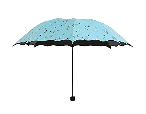 Westeng Paraguas de Viaje Plegable Protección UV resistente al viento y ligero, azul, compact