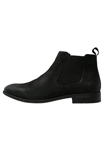 Herren-casual-boot-schuhe (Pier One Chelsea Boots Herren Aus Leder in Schwarz – Casual Stiefel mit Kurzschaft, 43)