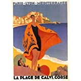 AFFICHE 50X70cm PAYSAGE DE CORSE LA PLAGE DE CALVI