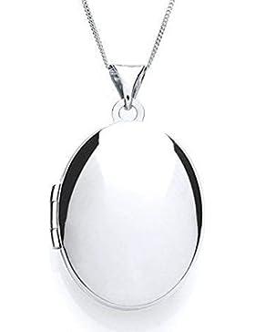 , Sterling-Silber Medaillon-Anhänger, 45.72 cm Oval mit Kette