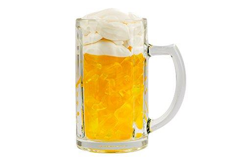 Bierseidel gefüllt mit Fruchtgummi, Fruchtgummi-Bierchen und weiße Mäuse, Volksfest, Wasen, Oktoberfest, echtes Bierglas, 400g
