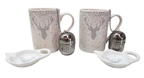 Handwerk Teetassen Set mit Teeei und Schälchen Hirschkopf weiß Silber Porzellan 3er Set