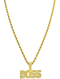 28904d17cd0 Bling King Gold Plated Boss Word Pendant Iron Rope Chain Hip Hop Bling  Necklace