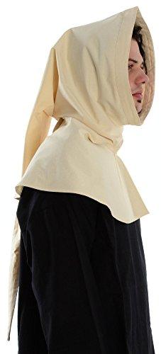 Mittelalter Gugel schwarz braun grün blau rot beige Baumwolle/Leinenstruktur Mittelalterliche Kleidung naturbeige