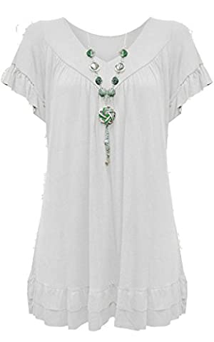 New Ladies Womens Gypsy Frill Hippy Plus Size Necklace Top WHITE UK SIZE 20-22