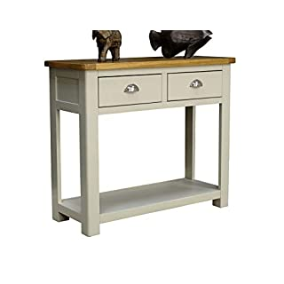 Aspen Painted Oak Sage / Grey 2 Drawer Console Table / Hall Unit With Shelf