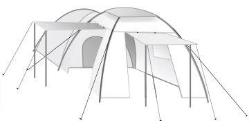 CampFeuer - Kuppelzelt mit grossem Vorbau (4 Personen), Farbe: Blau/Cremeweiß, Camping, Igluzelt -
