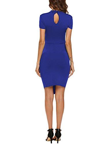 ACEVOG Damen Elegant Etuikleid Festliche Kleider Business Bodycon Knielang Kurzarm Partykleid Sommerkleid Blau