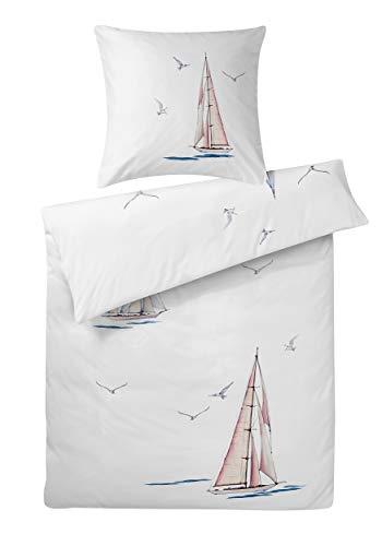 Carpe Sonno extra softe Interlock Jersey Bettwäsche Set 155 x 220 cm Weiß mit Segel-Boot & Möwe aus 100% Baumwolle - 2-TLG Bettwäsche Garnitur bügelfrei mit Kopfkissenbezug - Made in Germany (Boot, Bettwäsche)