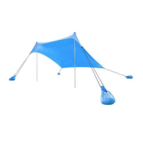 Lovebay Tienda De Playa Portable Camping Tienda de Campaña, Ligero 100% Lycra SunShelter con Impermeable UV Protection 210 x 210 CM para Camping, Senderismo, Pesca, Playa, Picnic (Azul)