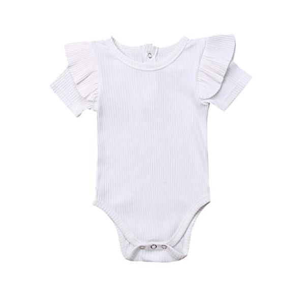 MAYOGO Mono Bebé Niña Verano Mangas Cortas con Volantes Bebé Body Fotografia Ropa de Bebe Niñas Bodies Fiesta Bebe… 1