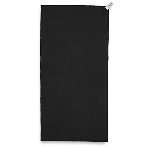 Lumaland asciugamano da viaggio in microfibra ultra leggero e compatto misura: 90x180 cm nero
