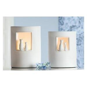 GILDE Lampe Katzenpaar - 25 cm, Creme