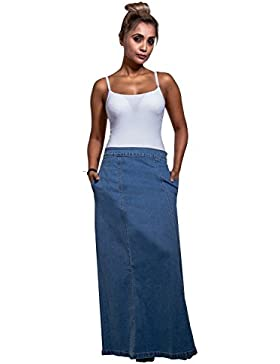 USKEES Matilda Falda Vaquera Larga - Luz Azul Falda Maxi EU36-50 MATILDAPW