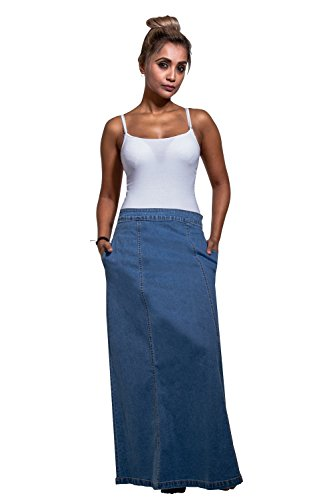 USKEES MATILDA Langer Jeansrock - Pale wash Maxi-rock Damen Mode EU 36-50 MATILDAPW-8 (Stretch-jeans-rock Lange)
