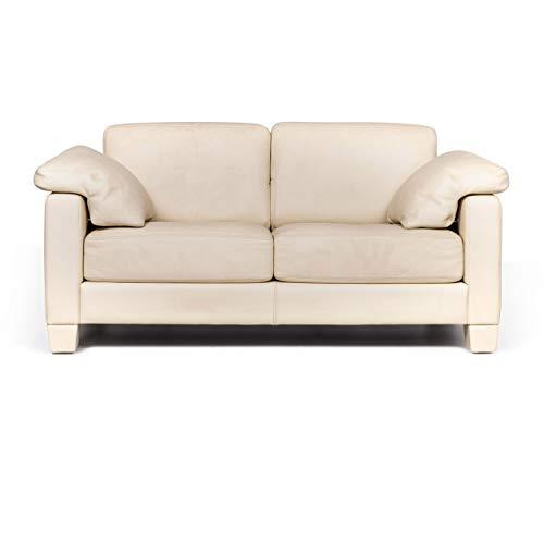 de Sede DS 17 Designer Leder Sofa Creme Zweisitzer Couch #9105