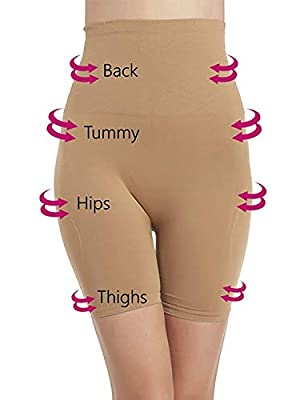"""Dilency Sales Women's Cotton Lycra Tummy Control 4-in-1 Shapewear - Tummy, Back, Thighs, Hips,Free Size (Beige, Fits from 34 to 38"""" Waist Size)"""