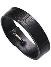 18mm correa de reloj negro de reemplazo arquero italiano de grano del cocodrilo piel de cuero de becerro