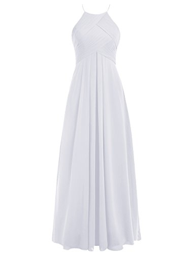 Dresstells Bodenlang Abendkleider Elegant Chiffon Brautjungfernkleider Weiß