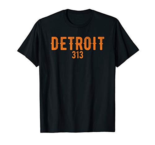Detroit 313 Orange Text Design T-Shirt T-Shirt -
