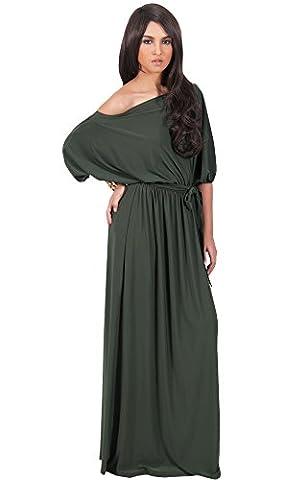 KOH KOH® Plus Size Damen Schulterfreies Maxikleid Cocktail Abend Elegantes Langes Dress, Farbe Olivgrün, Größe XXL / 2X (1920 Bride Kostüm)