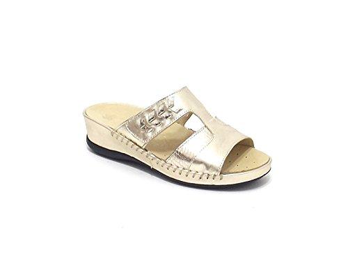 Susimoda scarpa donna, modello pantofola 137558, in pelle laminata, colore platino