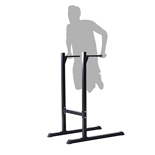 Homcom Appareil abdominaux dips Barres à dips Fitness poignées ergonomiques et Pieds antidérapants Acier Noir Neuf 46BK