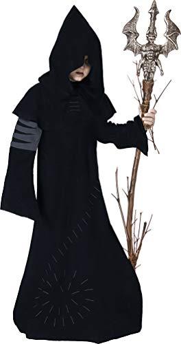 Karneval-Klamotten' Kostüm Warlock Junge Halloween Horror Zauberer Magier Hexenmeister gruseliges Kinderkostüm 128 (Jungen Horror Kostüm)