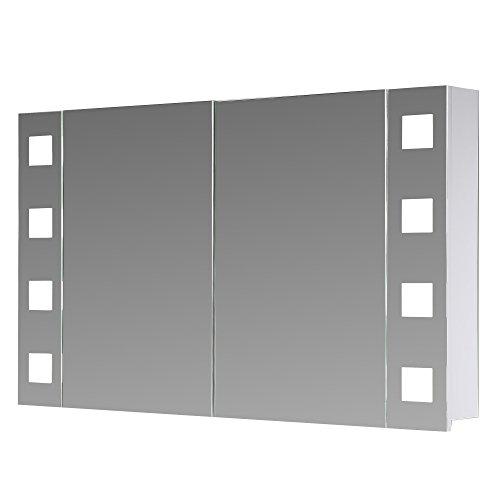 #Eurosan 2-türiger Spiegelschrank, Superflach, Integrierte LED-Frontbeleuchtung, Breite 100 cm, Weiß, New York, NY100#