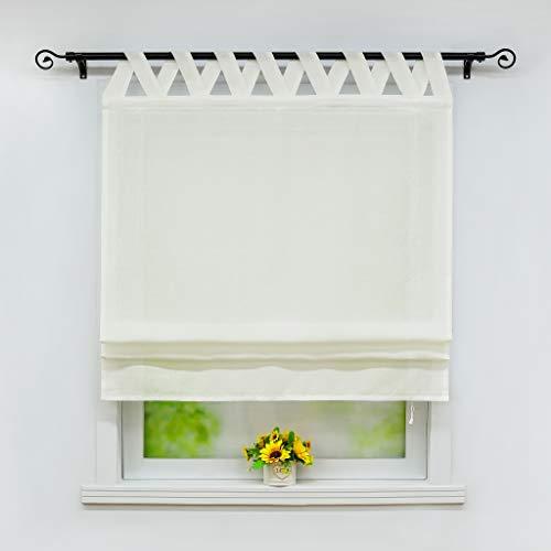 Joyswahl Raffrollo Halbtransparentes Unifarbiges Bändchenrollo »Mila« Schals mit Schlaufen Fenster Vorhänge BxH 80x140cm Beige 1er Pack